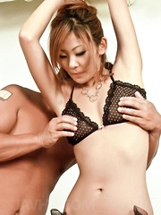 Erena Kurosawa Asian in stockings has cunt fingered from behind - Japarn porn pics at JapHole.com