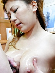 Yuki Aida Asian gets phallus and sperm on her juicy bazoom bas - Japarn porn pics at JapHole.com