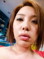 Yurika Momo Asian with hot boobies gets cum after sucking tools - Japarn porn pics at JapHole.com