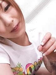 Miku Airi Asian in t-shirt sucks and licks cock till gets sperm - Japarn porn pics at JapHole.com