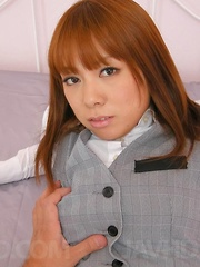 Asuka Asian chick in office suit has stockings ripped for fuck - Japarn porn pics at JapHole.com