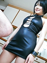 Haruna Katou Asian in tight dress sucks, strokes and licks penis