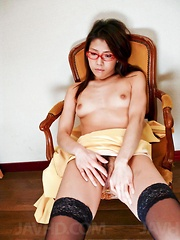 Mizuki Ogawa Asian with specs and stockings has nipples licked
