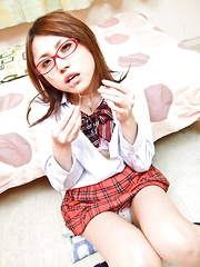 Rino Mizusawa Asian in uniform gets cum on specs from blowjobs