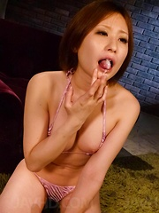 Ruri Haruka Asian shows mouth full of cum after sucking boners - Japarn porn pics at JapHole.com
