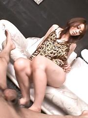 Maki Hojo Asian in sexy lingerie sucks and licks one huge stiffy - Japarn porn pics at JapHole.com