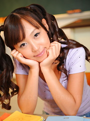 Cute Japanese schoolgirl Nagisa shows off