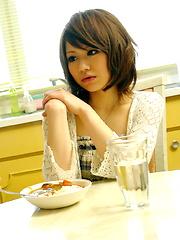 Japanese slut Aya Sugiura rides a big pecker