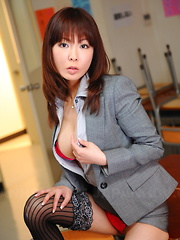 Hot Japanese brunette teacher Kyoushi Kan