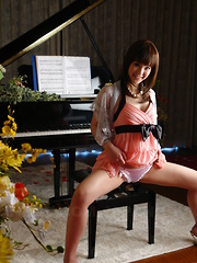 Hot Japanese gal Rimu Endo playing her piano