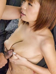 Airu Oshima has big tits rubbed and hairy twat fucked by dong - Japarn porn pics at JapHole.com