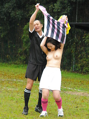 Hot soccer girl gets banged by two young guys - Japarn porn pics at JapHole.com