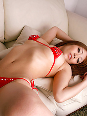 Rika Hoshimi Asian with sexy legs up shows peach in red thong - Japarn porn pics at JapHole.com