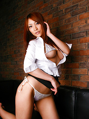 Rika Hoshimi Asian with big jugs shows pussy with thong stuck in - Japarn porn pics at JapHole.com