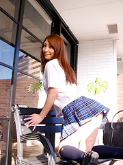 Rika Hoshimi takes uniform off and shows hot butt and titties - Japarn porn pics at JapHole.com