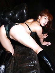 Rika Kawamura Asian in boots shows naughty behind in nylon outfit - Japarn porn pics at JapHole.com