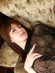 Rika Kawamura Asian shows cunt in spider lace crotchless outfit - Japarn porn pics at JapHole.com