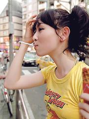 Rina Akiyama Asian with sexy lips rubs her cunt of bar outdoor - Japarn porn pics at JapHole.com