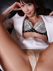 Aya Kisaki Asian spreads sexy legs and shows beaver in stockings - Japarn porn pics at JapHole.com