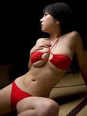 Rui Kiriyama Asian shows very hot bum and very big tits in red - Japarn porn pics at JapHole.com