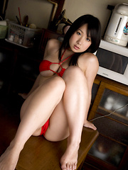 Rui Kiriyama Asian shows very hot bum and very big tits in red - Japarn porn pics at JapHole.com