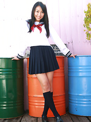 Miyu Watanabe Asian in school uniform loves rubbing cunt of ball - Japarn porn pics at JapHole.com