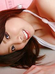 Mayu Kanaoka Asian with big tits in white lingerie poses so hot - Japarn porn pics at JapHole.com